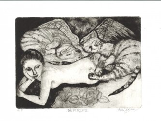 猫の銅版画『絶対的不在』の画像