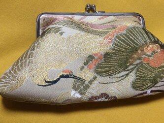 がまぐち・角型 大 丸帯地 鶴柄の画像