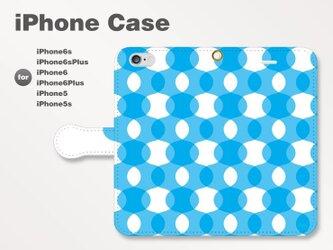 iPhone7/7Plus/SE/6s/6sPlus他 スマホケース 手帳型 北欧-ドット-波-曲線 ブルー青1101の画像
