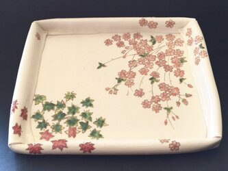 受注制作 花の器 紅葉と枝垂れ桜の折り畳み平皿の画像