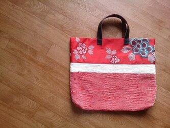 着物リメイク 花柄の裂き織りバッグの画像