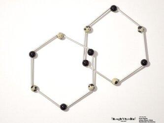 Hexagon bracelet silver×dalmatianの画像