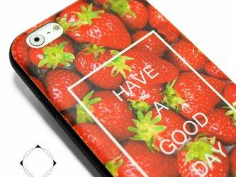 iphone6ケース / iphone6sケース(4.7寸用)レザーケースカバー(レッド×ブラック)イチゴ+スカルの画像