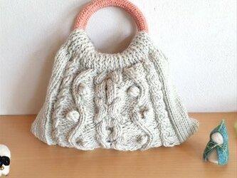 縄編みバッグ・グレーの画像