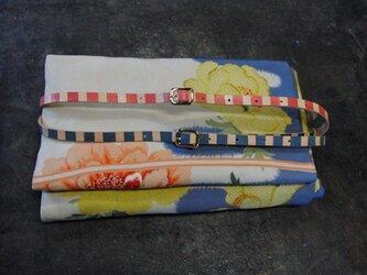 帯締めベルト(赤縞/青縞のうち1本)本革11mm幅 着物浴衣に市販の帯留め使用も可能の画像