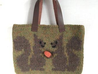ニットバッグ りす (緑)の画像