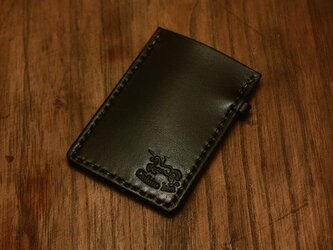 本革手染めシンプルな名刺カードケース ブラックの画像