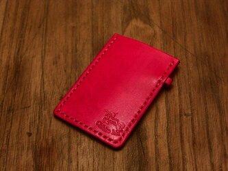 本革手染めシンプルな名刺カードケース レッドの画像