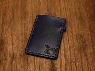 本革手染めシンプルな名刺カードケース ネイビーブルーの画像