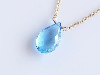 天然石スイスブルートパーズのネックレスの画像