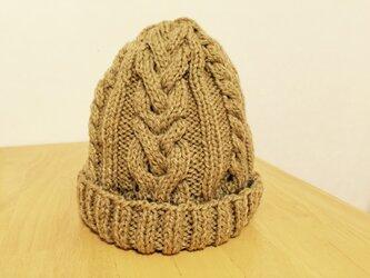 ニット帽 ベージュ アラン編みの画像