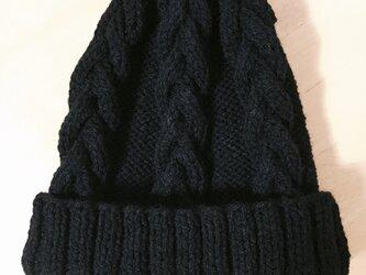 ニット帽 ブラック 男女兼用の画像