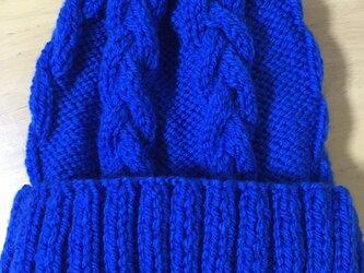 ニット帽 ブルー 男女兼用の画像