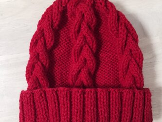 ニット帽 レッド 男女兼用の画像