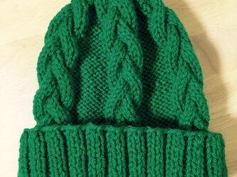 ニット帽 グリーン 男女兼用の画像