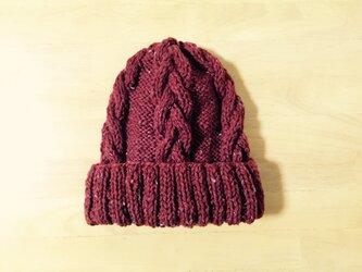 ニット帽 ツイードボルドー 男女兼用の画像