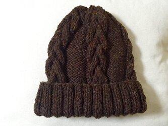 ニット帽 ツイードブラウン 男女兼用の画像
