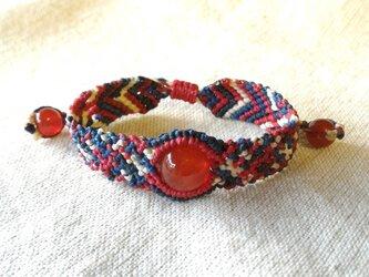 赤メノウのマクラメブレスレット  bra022の画像