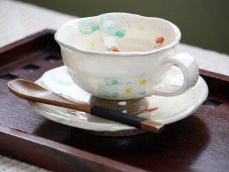 粉引花絵カップ お客様おもてなし5個セットです いやしのコーヒータイムはいかがですか?の画像