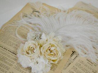 オーストリッチとオールドローズのヘッドドレスの画像