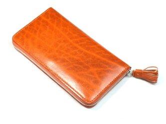 ベルギー牛革のラウンドファスナー長財布(カラー:Orange × Orange Brown)の画像