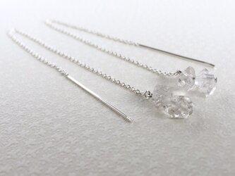ハーキマーダイヤモンドとチェーンのピアスの画像