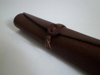 革のロールペンケース(color/チョコ)の画像