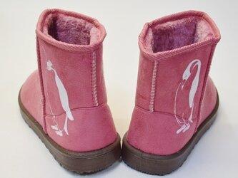 ペンギン ボアブーツ、靴、ピンク、オリジナルデザイン、シルクスクリーン、冬物ブーツの画像