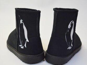 ペンギン ボアブーツ、靴、ブラック、オリジナルデザイン、シルクスクリーン、冬物ブーツの画像