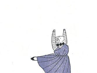 冬のポストカードセット-青いドレスの羊の画像