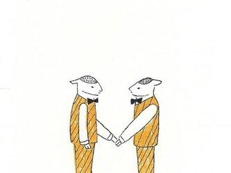 冬のポストカードセット-ウェイター羊たちの画像