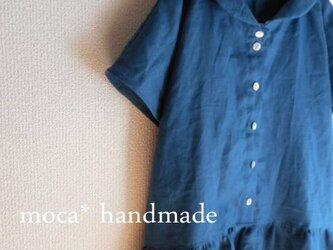 【受注製作/4.30再販売】リネン半袖へちま衿ワンピース★アッシュブルーの画像