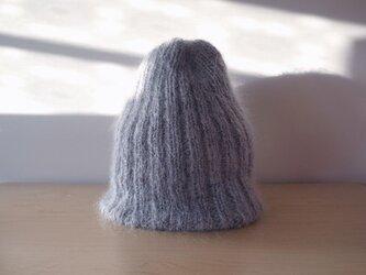 モヘアのリブ編みニット帽・グレー●受注生産●の画像