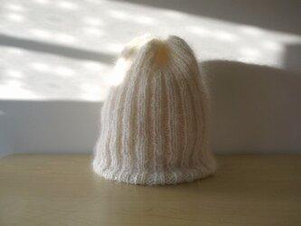 モヘアのリブ編みニット帽・ホワイト●受注生産●の画像
