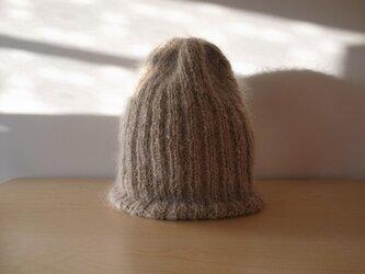 モヘアのリブ編みニット帽・フォーン●受注生産●の画像
