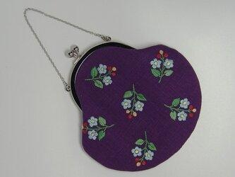 小花の手刺繍 がまぐちポーチの画像