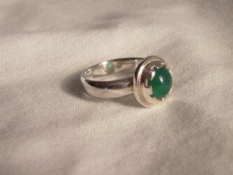 グリーンアゲート 銀Ring 64の画像