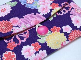 16×11サイズ御朱印帳入れ_紺に桜牡丹の画像