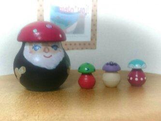 森の精霊レーシイ&コキノコ3個組マトリョーシカ(ピンク帽子)(再販)の画像