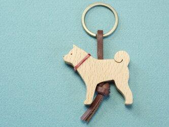 柴犬  木のキーリングの画像