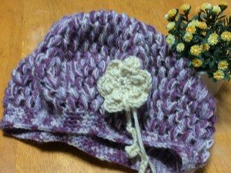 手編みベレー帽♪アヤメの画像
