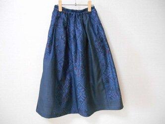 藍大島リメイクスカート★少しだけパッチワークの画像