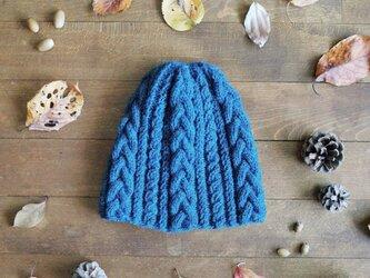 アラン模様のニット帽 / Kolmikko[コルミッコ]/ ターコイズブルーの画像