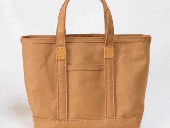 革と帆布のトートバッグS キャメル ※受注生産の画像