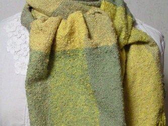 草木染め シルク100%手織りストール(カーキ×チェック)の画像