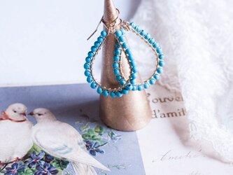 *受注製作【12月誕生石】【ターコイズ】【14kgf】TurquoiseTearSピアス・イヤリングの画像