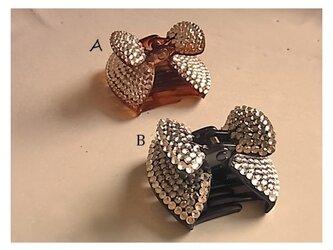 リボンデコヘアクリップ B(ブラック)の画像