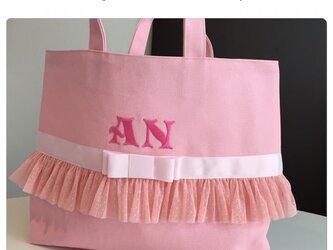 女の子レッスンバッグ(ピンク×ピンク)の画像