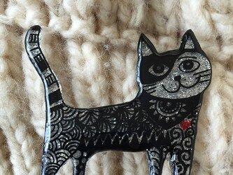 【SALE】猫のピカピカブローチの画像