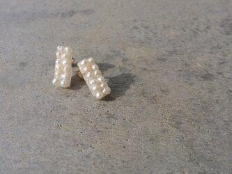 送料無料【再販】凸凹petit rectangle pearl pierce /14kgfの画像